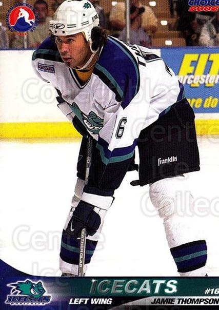 2001-02 Worcester IceCats #13 Jamie Thompson<br/>1 In Stock - $3.00 each - <a href=https://centericecollectibles.foxycart.com/cart?name=2001-02%20Worcester%20IceCats%20%2313%20Jamie%20Thompson...&quantity_max=1&price=$3.00&code=100080 class=foxycart> Buy it now! </a>