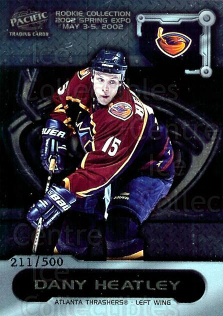 2002 Pacific Toronto Spring Expo Redemption #1 Dany Heatley<br/>4 In Stock - $3.00 each - <a href=https://centericecollectibles.foxycart.com/cart?name=2002%20Pacific%20Toronto%20Spring%20Expo%20Redemption%20%231%20Dany%20Heatley...&quantity_max=4&price=$3.00&code=100167 class=foxycart> Buy it now! </a>