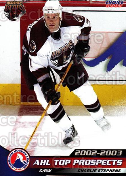 2002-03 AHL Top Prospects #40 Charlie Stephens<br/>3 In Stock - $3.00 each - <a href=https://centericecollectibles.foxycart.com/cart?name=2002-03%20AHL%20Top%20Prospects%20%2340%20Charlie%20Stephen...&quantity_max=3&price=$3.00&code=100236 class=foxycart> Buy it now! </a>