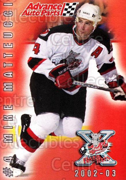 2002-03 Albany River Rats AAP #18 Mike Matteucci<br/>7 In Stock - $3.00 each - <a href=https://centericecollectibles.foxycart.com/cart?name=2002-03%20Albany%20River%20Rats%20AAP%20%2318%20Mike%20Matteucci...&quantity_max=7&price=$3.00&code=100255 class=foxycart> Buy it now! </a>
