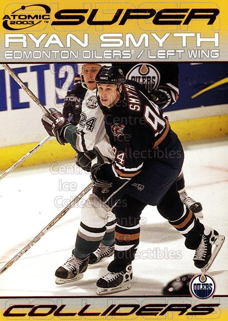 2002-03 Atomic Super Colliders #7 Ryan Smyth<br/>2 In Stock - $2.00 each - <a href=https://centericecollectibles.foxycart.com/cart?name=2002-03%20Atomic%20Super%20Colliders%20%237%20Ryan%20Smyth...&quantity_max=2&price=$2.00&code=100513 class=foxycart> Buy it now! </a>