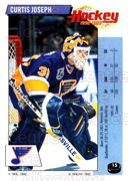 1992-93 Panini Stickers #15 Curtis Joseph<br/>6 In Stock - $1.00 each - <a href=https://centericecollectibles.foxycart.com/cart?name=1992-93%20Panini%20Stickers%20%2315%20Curtis%20Joseph...&quantity_max=6&price=$1.00&code=10138 class=foxycart> Buy it now! </a>