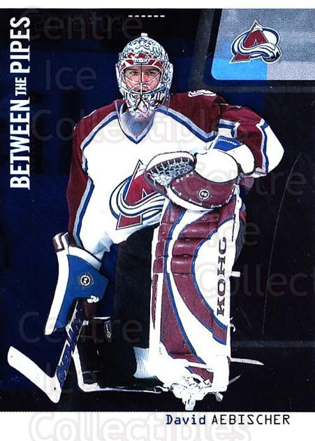 2002-03 Between the Pipes #22 David Aebischer<br/>4 In Stock - $1.00 each - <a href=https://centericecollectibles.foxycart.com/cart?name=2002-03%20Between%20the%20Pipes%20%2322%20David%20Aebischer...&quantity_max=4&price=$1.00&code=101662 class=foxycart> Buy it now! </a>