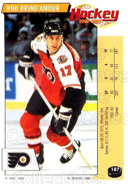 1992-93 Panini Stickers #187 Rod Brind'Amour<br/>4 In Stock - $1.00 each - <a href=https://centericecollectibles.foxycart.com/cart?name=1992-93%20Panini%20Stickers%20%23187%20Rod%20Brind'Amour...&quantity_max=4&price=$1.00&code=10177 class=foxycart> Buy it now! </a>