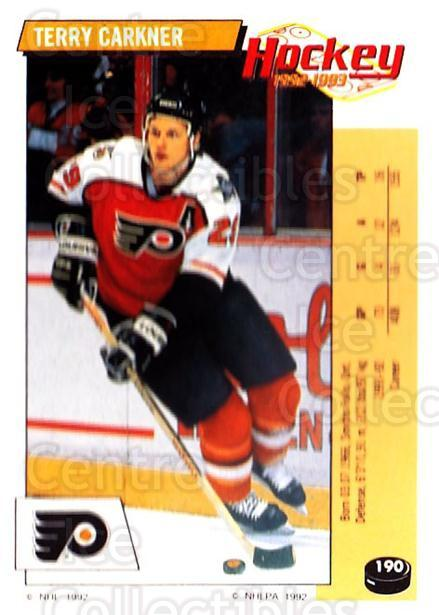 1992-93 Panini Stickers #190 Terry Carkner<br/>7 In Stock - $1.00 each - <a href=https://centericecollectibles.foxycart.com/cart?name=1992-93%20Panini%20Stickers%20%23190%20Terry%20Carkner...&quantity_max=7&price=$1.00&code=10181 class=foxycart> Buy it now! </a>