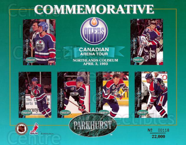 1992-93 Parkhurst Arena Tour Sheets #1 Zdeno Ciger, Bill Ranford, Todd Elik, Igor Kravchuk, Craig MacTavish, Shayne Corson<br/>2 In Stock - $10.00 each - <a href=https://centericecollectibles.foxycart.com/cart?name=1992-93%20Parkhurst%20Arena%20Tour%20Sheets%20%231%20Zdeno%20Ciger,%20Bi...&price=$10.00&code=10186 class=foxycart> Buy it now! </a>