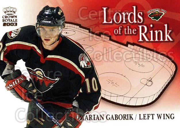 2002-03 Crown Royale Lords of the Rink #12 Marian Gaborik<br/>10 In Stock - $2.00 each - <a href=https://centericecollectibles.foxycart.com/cart?name=2002-03%20Crown%20Royale%20Lords%20of%20the%20Rink%20%2312%20Marian%20Gaborik...&quantity_max=10&price=$2.00&code=102067 class=foxycart> Buy it now! </a>