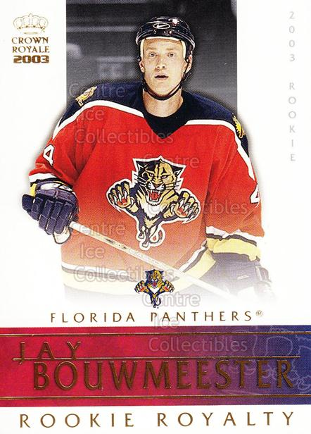 2002-03 Crown Royale Rookie Royalty #11 Jay Bouwmeester<br/>7 In Stock - $2.00 each - <a href=https://centericecollectibles.foxycart.com/cart?name=2002-03%20Crown%20Royale%20Rookie%20Royalty%20%2311%20Jay%20Bouwmeester...&quantity_max=7&price=$2.00&code=102164 class=foxycart> Buy it now! </a>