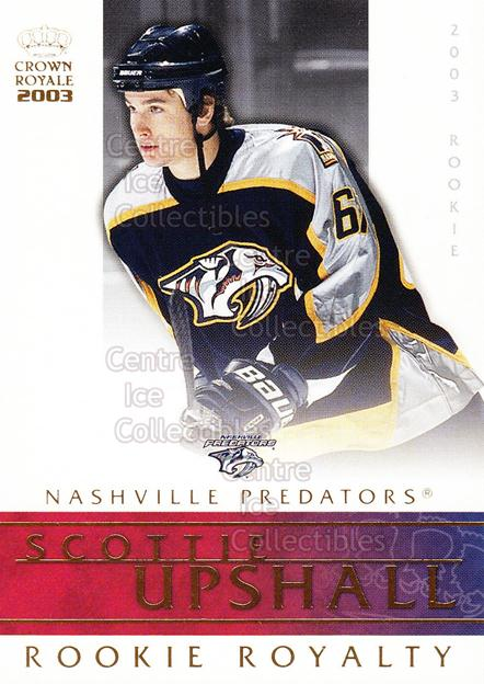 2002-03 Crown Royale Rookie Royalty #14 Scottie Upshall<br/>5 In Stock - $2.00 each - <a href=https://centericecollectibles.foxycart.com/cart?name=2002-03%20Crown%20Royale%20Rookie%20Royalty%20%2314%20Scottie%20Upshall...&quantity_max=5&price=$2.00&code=102167 class=foxycart> Buy it now! </a>