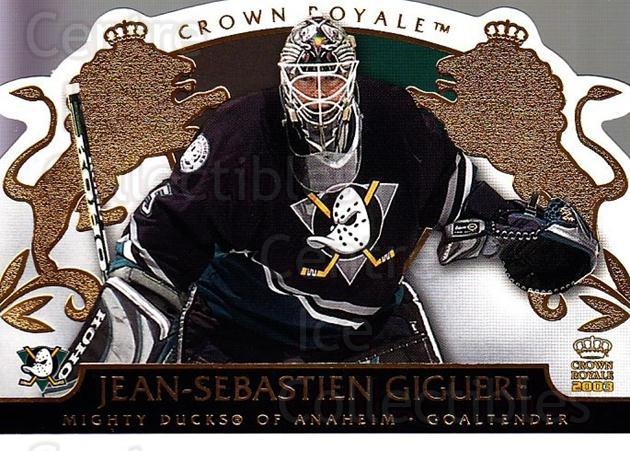 2002-03 Crown Royale #1 Jean-Sebastien Giguere<br/>2 In Stock - $1.00 each - <a href=https://centericecollectibles.foxycart.com/cart?name=2002-03%20Crown%20Royale%20%231%20Jean-Sebastien%20...&quantity_max=2&price=$1.00&code=102182 class=foxycart> Buy it now! </a>
