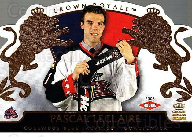 2002-03 Crown Royale #108 Pascal Leclaire<br/>1 In Stock - $3.00 each - <a href=https://centericecollectibles.foxycart.com/cart?name=2002-03%20Crown%20Royale%20%23108%20Pascal%20Leclaire...&quantity_max=1&price=$3.00&code=102190 class=foxycart> Buy it now! </a>