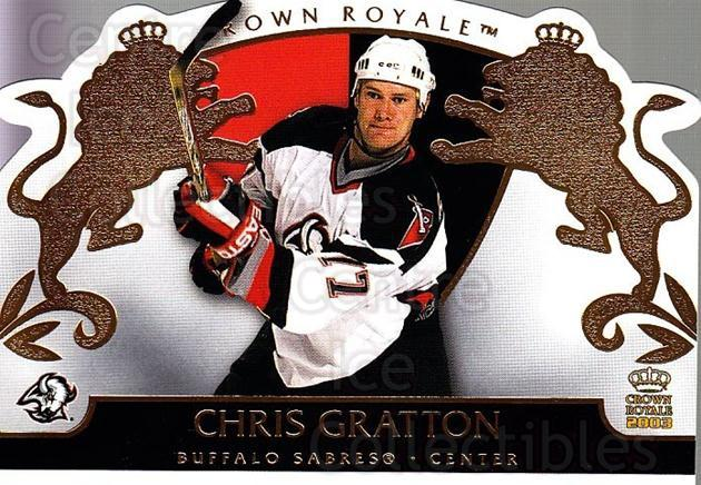 2002-03 Crown Royale #11 Chris Gratton<br/>8 In Stock - $1.00 each - <a href=https://centericecollectibles.foxycart.com/cart?name=2002-03%20Crown%20Royale%20%2311%20Chris%20Gratton...&quantity_max=8&price=$1.00&code=102192 class=foxycart> Buy it now! </a>