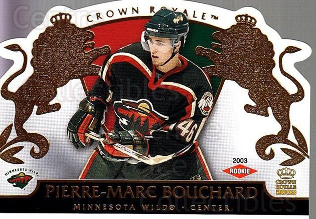 2002-03 Crown Royale #119 Pierre-Marc Bouchard<br/>2 In Stock - $3.00 each - <a href=https://centericecollectibles.foxycart.com/cart?name=2002-03%20Crown%20Royale%20%23119%20Pierre-Marc%20Bou...&quantity_max=2&price=$3.00&code=102201 class=foxycart> Buy it now! </a>