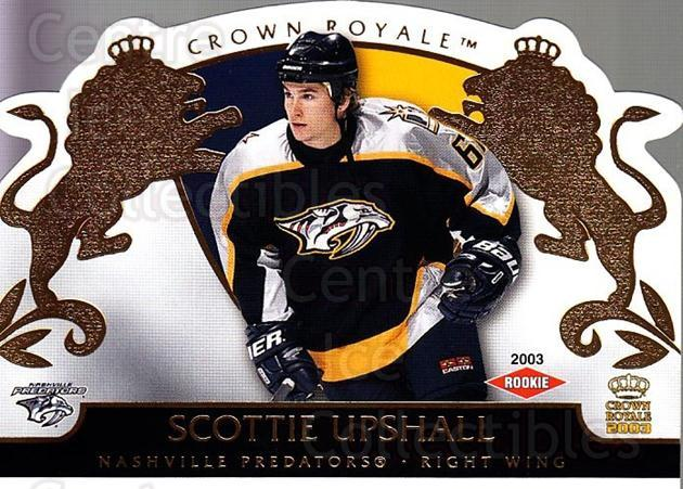 2002-03 Crown Royale #125 Scottie Upshall<br/>1 In Stock - $3.00 each - <a href=https://centericecollectibles.foxycart.com/cart?name=2002-03%20Crown%20Royale%20%23125%20Scottie%20Upshall...&quantity_max=1&price=$3.00&code=102208 class=foxycart> Buy it now! </a>