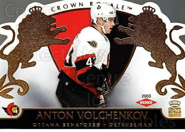 2002-03 Crown Royale #128 Anton Volchenkov<br/>4 In Stock - $3.00 each - <a href=https://centericecollectibles.foxycart.com/cart?name=2002-03%20Crown%20Royale%20%23128%20Anton%20Volchenko...&quantity_max=4&price=$3.00&code=102211 class=foxycart> Buy it now! </a>