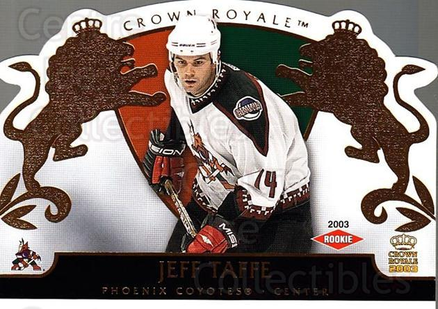 2002-03 Crown Royale #132 Jeff Taffe<br/>4 In Stock - $3.00 each - <a href=https://centericecollectibles.foxycart.com/cart?name=2002-03%20Crown%20Royale%20%23132%20Jeff%20Taffe...&quantity_max=4&price=$3.00&code=102216 class=foxycart> Buy it now! </a>