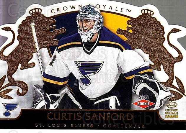 2002-03 Crown Royale #135 Curtis Sanford<br/>3 In Stock - $3.00 each - <a href=https://centericecollectibles.foxycart.com/cart?name=2002-03%20Crown%20Royale%20%23135%20Curtis%20Sanford...&quantity_max=3&price=$3.00&code=102219 class=foxycart> Buy it now! </a>