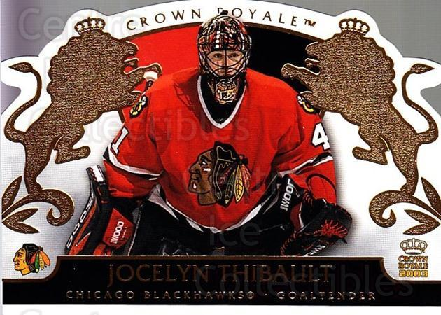 2002-03 Crown Royale #21 Jocelyn Thibault<br/>4 In Stock - $1.00 each - <a href=https://centericecollectibles.foxycart.com/cart?name=2002-03%20Crown%20Royale%20%2321%20Jocelyn%20Thibaul...&quantity_max=4&price=$1.00&code=102232 class=foxycart> Buy it now! </a>