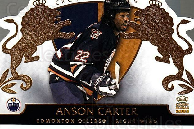 2002-03 Crown Royale #38 Anson Carter<br/>9 In Stock - $1.00 each - <a href=https://centericecollectibles.foxycart.com/cart?name=2002-03%20Crown%20Royale%20%2338%20Anson%20Carter...&quantity_max=9&price=$1.00&code=102243 class=foxycart> Buy it now! </a>