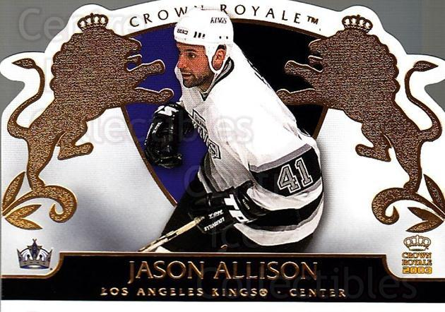 2002-03 Crown Royale #44 Jason Allison<br/>3 In Stock - $1.00 each - <a href=https://centericecollectibles.foxycart.com/cart?name=2002-03%20Crown%20Royale%20%2344%20Jason%20Allison...&quantity_max=3&price=$1.00&code=102250 class=foxycart> Buy it now! </a>