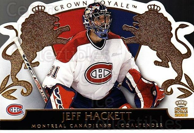 2002-03 Crown Royale #50 Jeff Hackett<br/>1 In Stock - $1.00 each - <a href=https://centericecollectibles.foxycart.com/cart?name=2002-03%20Crown%20Royale%20%2350%20Jeff%20Hackett...&quantity_max=1&price=$1.00&code=102257 class=foxycart> Buy it now! </a>