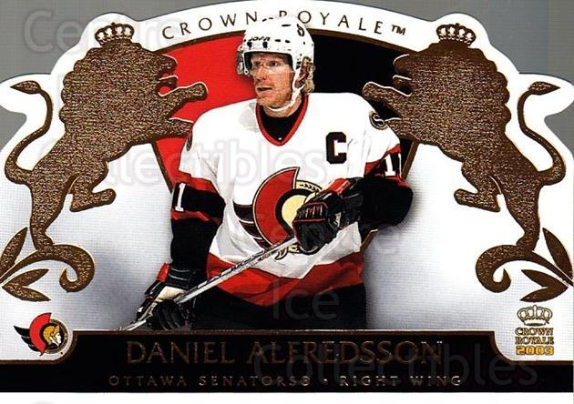 2002-03 Crown Royale #66 Daniel Alfredsson<br/>4 In Stock - $1.00 each - <a href=https://centericecollectibles.foxycart.com/cart?name=2002-03%20Crown%20Royale%20%2366%20Daniel%20Alfredss...&quantity_max=4&price=$1.00&code=102272 class=foxycart> Buy it now! </a>