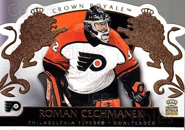 2002-03 Crown Royale #69 Roman Cechmanek<br/>1 In Stock - $1.00 each - <a href=https://centericecollectibles.foxycart.com/cart?name=2002-03%20Crown%20Royale%20%2369%20Roman%20Cechmanek...&quantity_max=1&price=$1.00&code=102275 class=foxycart> Buy it now! </a>