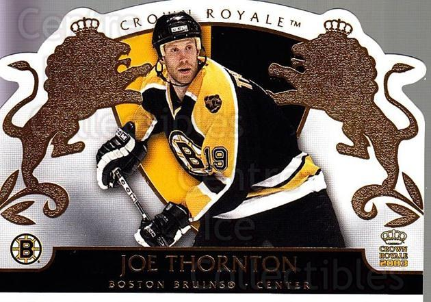 2002-03 Crown Royale #9 Joe Thornton<br/>5 In Stock - $1.00 each - <a href=https://centericecollectibles.foxycart.com/cart?name=2002-03%20Crown%20Royale%20%239%20Joe%20Thornton...&quantity_max=5&price=$1.00&code=102296 class=foxycart> Buy it now! </a>