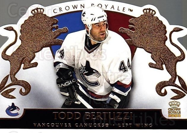 2002-03 Crown Royale #94 Todd Bertuzzi<br/>6 In Stock - $1.00 each - <a href=https://centericecollectibles.foxycart.com/cart?name=2002-03%20Crown%20Royale%20%2394%20Todd%20Bertuzzi...&quantity_max=6&price=$1.00&code=102301 class=foxycart> Buy it now! </a>