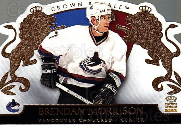 2002-03 Crown Royale #96 Brendan Morrison<br/>6 In Stock - $1.00 each - <a href=https://centericecollectibles.foxycart.com/cart?name=2002-03%20Crown%20Royale%20%2396%20Brendan%20Morriso...&quantity_max=6&price=$1.00&code=102303 class=foxycart> Buy it now! </a>