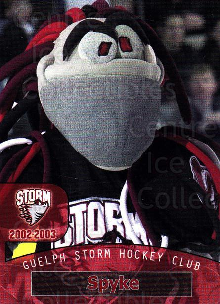 2002-03 Guelph Storm #31 Mascot<br/>7 In Stock - $3.00 each - <a href=https://centericecollectibles.foxycart.com/cart?name=2002-03%20Guelph%20Storm%20%2331%20Mascot...&quantity_max=7&price=$3.00&code=103120 class=foxycart> Buy it now! </a>