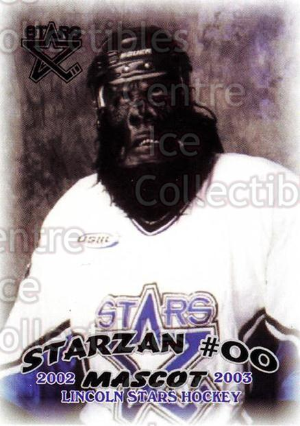 2002-03 Lincoln Stars #29 Mascot<br/>14 In Stock - $3.00 each - <a href=https://centericecollectibles.foxycart.com/cart?name=2002-03%20Lincoln%20Stars%20%2329%20Mascot...&quantity_max=14&price=$3.00&code=103327 class=foxycart> Buy it now! </a>