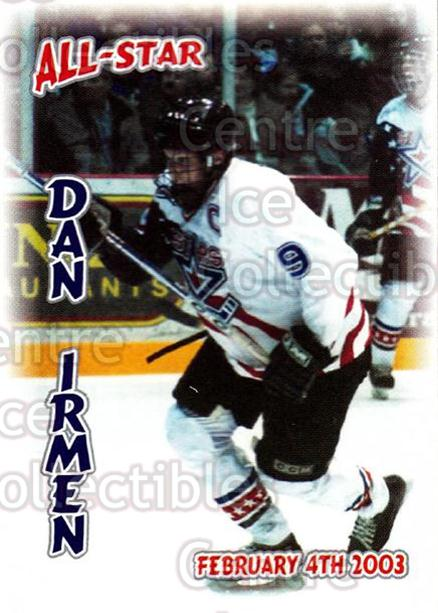 2002-03 Lincoln Stars #37 Danny Irmen<br/>2 In Stock - $3.00 each - <a href=https://centericecollectibles.foxycart.com/cart?name=2002-03%20Lincoln%20Stars%20%2337%20Danny%20Irmen...&quantity_max=2&price=$3.00&code=103334 class=foxycart> Buy it now! </a>