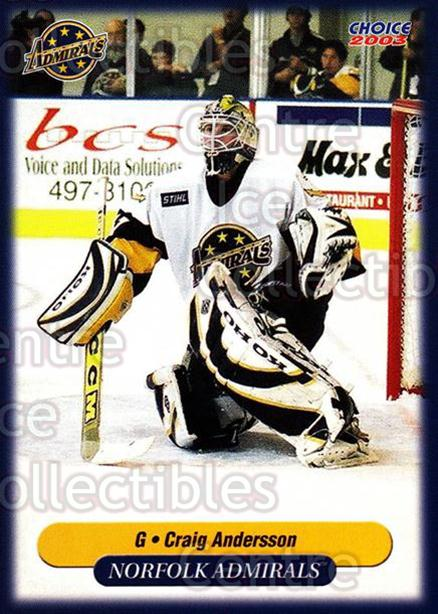 2002-03 Norfolk Admirals #2 Craig Anderson<br/>3 In Stock - $3.00 each - <a href=https://centericecollectibles.foxycart.com/cart?name=2002-03%20Norfolk%20Admirals%20%232%20Craig%20Anderson...&price=$3.00&code=103663 class=foxycart> Buy it now! </a>