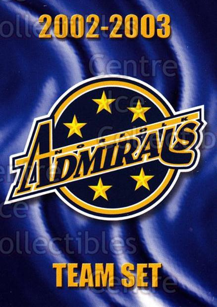 2002-03 Norfolk Admirals #26 Checklist<br/>5 In Stock - $3.00 each - <a href=https://centericecollectibles.foxycart.com/cart?name=2002-03%20Norfolk%20Admirals%20%2326%20Checklist...&price=$3.00&code=103675 class=foxycart> Buy it now! </a>
