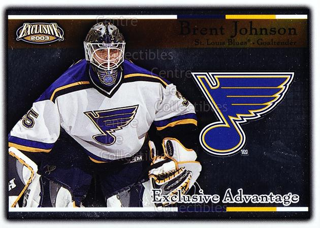 2002-03 Pacific Exclusive Advantage #13 Brent Johnson<br/>14 In Stock - $2.00 each - <a href=https://centericecollectibles.foxycart.com/cart?name=2002-03%20Pacific%20Exclusive%20Advantage%20%2313%20Brent%20Johnson...&quantity_max=14&price=$2.00&code=104099 class=foxycart> Buy it now! </a>