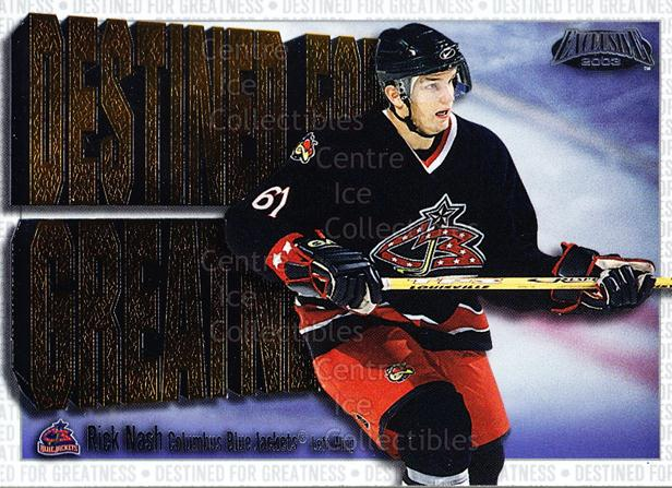 2002-03 Pacific Exclusive Destined #5 Rick Nash<br/>5 In Stock - $3.00 each - <a href=https://centericecollectibles.foxycart.com/cart?name=2002-03%20Pacific%20Exclusive%20Destined%20%235%20Rick%20Nash...&quantity_max=5&price=$3.00&code=104114 class=foxycart> Buy it now! </a>