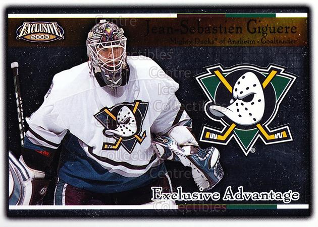 <a href=index.aspx?SetName=2002-03%20Pacific%20Exclusive%20Advantage>2002-03 Pacific Exclusive Advantage</a> #1 <a href=index.aspx?PlayerName=Jean-Sebastien%20Giguere> Jean-Sebastien Giguere</a><br/>13 in stock - $2.00 each - <a href=https://centericecollectibles.foxycart.com/cart?name=2002-03%20Pacific%20Exclusive%20Advantage%20%231%20Jean-Sebastien%20...&price=$2.00&code=104620 class=foxycart> Buy it now! </a>