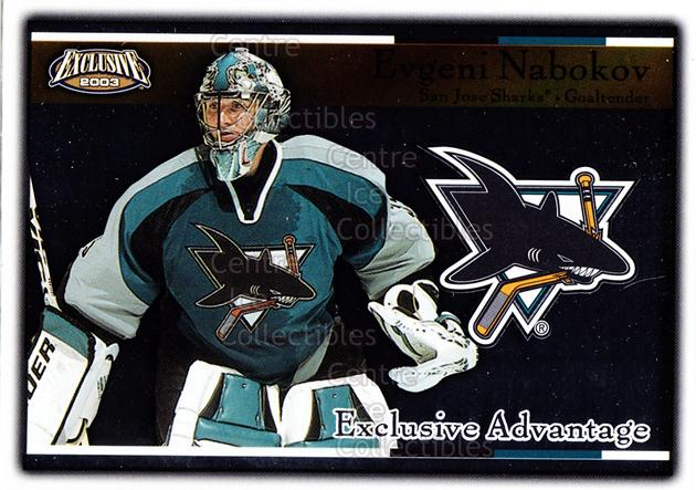 2002-03 Pacific Exclusive Advantage #14 Evgeni Nabokov<br/>12 In Stock - $2.00 each - <a href=https://centericecollectibles.foxycart.com/cart?name=2002-03%20Pacific%20Exclusive%20Advantage%20%2314%20Evgeni%20Nabokov...&quantity_max=12&price=$2.00&code=104622 class=foxycart> Buy it now! </a>