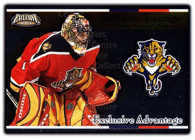 2002-03 Pacific Exclusive Advantage #8 Roberto Luongo<br/>14 In Stock - $2.00 each - <a href=https://centericecollectibles.foxycart.com/cart?name=2002-03%20Pacific%20Exclusive%20Advantage%20%238%20Roberto%20Luongo...&quantity_max=14&price=$2.00&code=104628 class=foxycart> Buy it now! </a>