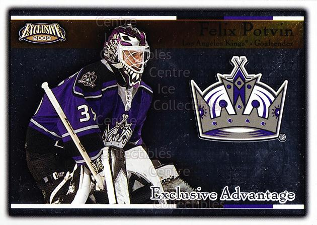 2002-03 Pacific Exclusive Advantage #9 Felix Potvin<br/>13 In Stock - $2.00 each - <a href=https://centericecollectibles.foxycart.com/cart?name=2002-03%20Pacific%20Exclusive%20Advantage%20%239%20Felix%20Potvin...&quantity_max=13&price=$2.00&code=104629 class=foxycart> Buy it now! </a>