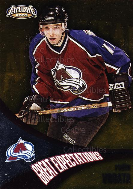 2002-03 Pacific Exclusive Great Expectations #5 Radim Vrbata<br/>8 In Stock - $2.00 each - <a href=https://centericecollectibles.foxycart.com/cart?name=2002-03%20Pacific%20Exclusive%20Great%20Expectations%20%235%20Radim%20Vrbata...&quantity_max=8&price=$2.00&code=104792 class=foxycart> Buy it now! </a>