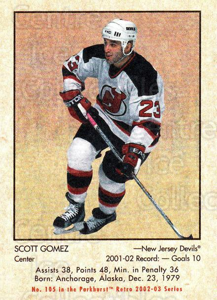2002-03 Parkhurst Retro #105 Scott Gomez<br/>6 In Stock - $1.00 each - <a href=https://centericecollectibles.foxycart.com/cart?name=2002-03%20Parkhurst%20Retro%20%23105%20Scott%20Gomez...&quantity_max=6&price=$1.00&code=105369 class=foxycart> Buy it now! </a>