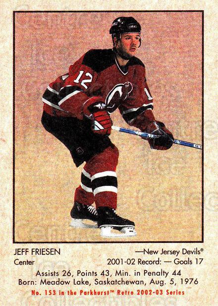 2002-03 Parkhurst Retro #153 Jeff Friesen<br/>4 In Stock - $1.00 each - <a href=https://centericecollectibles.foxycart.com/cart?name=2002-03%20Parkhurst%20Retro%20%23153%20Jeff%20Friesen...&quantity_max=4&price=$1.00&code=105371 class=foxycart> Buy it now! </a>