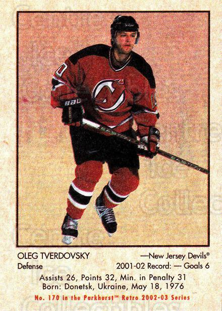 2002-03 Parkhurst Retro #170 Oleg Tverdovsky<br/>6 In Stock - $1.00 each - <a href=https://centericecollectibles.foxycart.com/cart?name=2002-03%20Parkhurst%20Retro%20%23170%20Oleg%20Tverdovsky...&quantity_max=6&price=$1.00&code=105373 class=foxycart> Buy it now! </a>