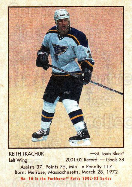 2002-03 Parkhurst Retro #10 Keith Tkachuk<br/>5 In Stock - $1.00 each - <a href=https://centericecollectibles.foxycart.com/cart?name=2002-03%20Parkhurst%20Retro%20%2310%20Keith%20Tkachuk...&quantity_max=5&price=$1.00&code=105563 class=foxycart> Buy it now! </a>