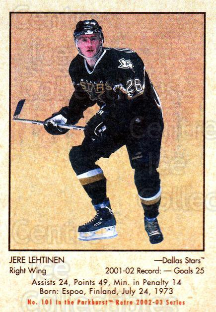 2002-03 Parkhurst Retro #101 Jere Lehtinen<br/>3 In Stock - $1.00 each - <a href=https://centericecollectibles.foxycart.com/cart?name=2002-03%20Parkhurst%20Retro%20%23101%20Jere%20Lehtinen...&quantity_max=3&price=$1.00&code=105565 class=foxycart> Buy it now! </a>