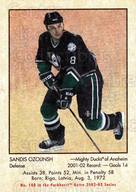 2002-03 Parkhurst Retro #108 Sandis Ozolinsh<br/>3 In Stock - $1.00 each - <a href=https://centericecollectibles.foxycart.com/cart?name=2002-03%20Parkhurst%20Retro%20%23108%20Sandis%20Ozolinsh...&quantity_max=3&price=$1.00&code=105571 class=foxycart> Buy it now! </a>