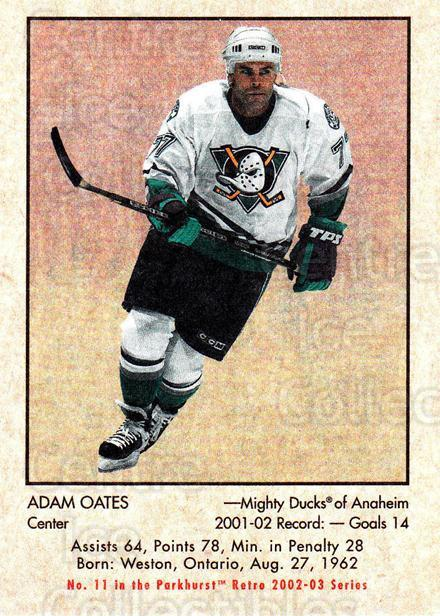 2002-03 Parkhurst Retro #11 Adam Oates<br/>3 In Stock - $1.00 each - <a href=https://centericecollectibles.foxycart.com/cart?name=2002-03%20Parkhurst%20Retro%20%2311%20Adam%20Oates...&quantity_max=3&price=$1.00&code=105573 class=foxycart> Buy it now! </a>
