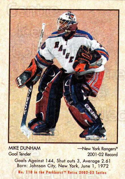 2002-03 Parkhurst Retro #110 Mike Dunham<br/>4 In Stock - $1.00 each - <a href=https://centericecollectibles.foxycart.com/cart?name=2002-03%20Parkhurst%20Retro%20%23110%20Mike%20Dunham...&quantity_max=4&price=$1.00&code=105574 class=foxycart> Buy it now! </a>
